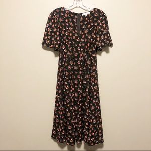 NWOT Black Floral Dress- Extra Small